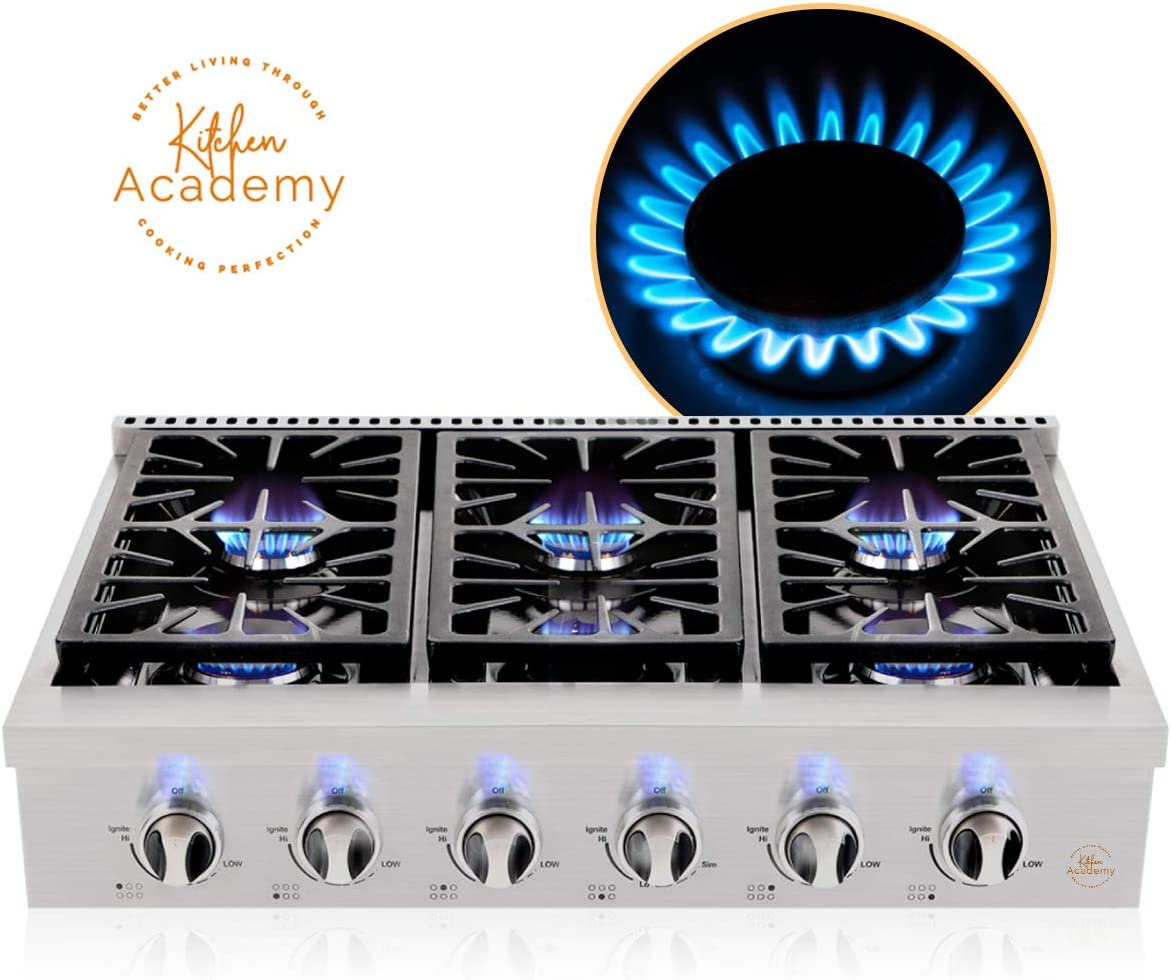 Kitchen Academy 36'' Gas Cooktop, Professional Burners Gas Stove Cooktop with 6 Gas Burners, Stainless Steel Rangetop Cooktop Auto Ignition