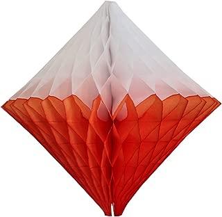 product image for Large 12 Inch Hanging Honeycomb Diamond Decoration, Set of 3 (Orange/White)