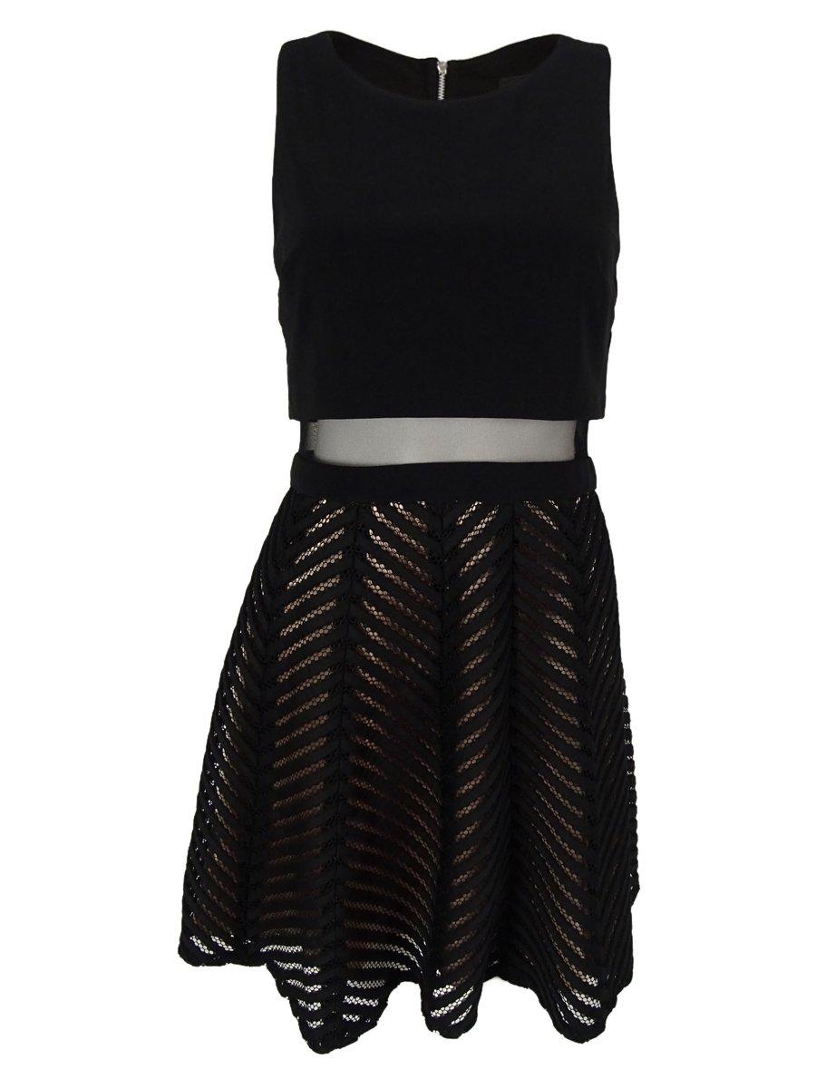 Betsy & Adam Woman's Illusion Popover Dress (8P, Black/Blush)