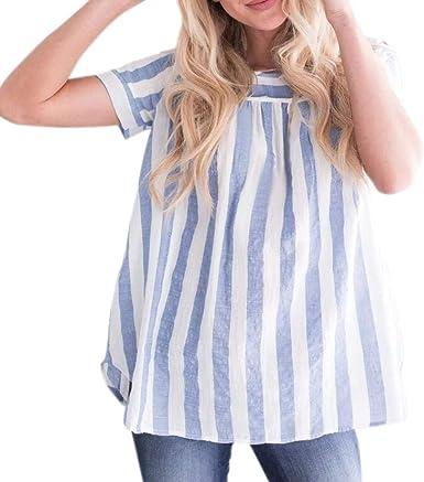 Camisas Elegantes Moda Blusa Mujer Verano Flecos Manga Corta Cuello Redondo con Botón Basic Volantes Casual Camisa Casuales Ropa Moda Joven Tops: Amazon.es: Ropa y accesorios