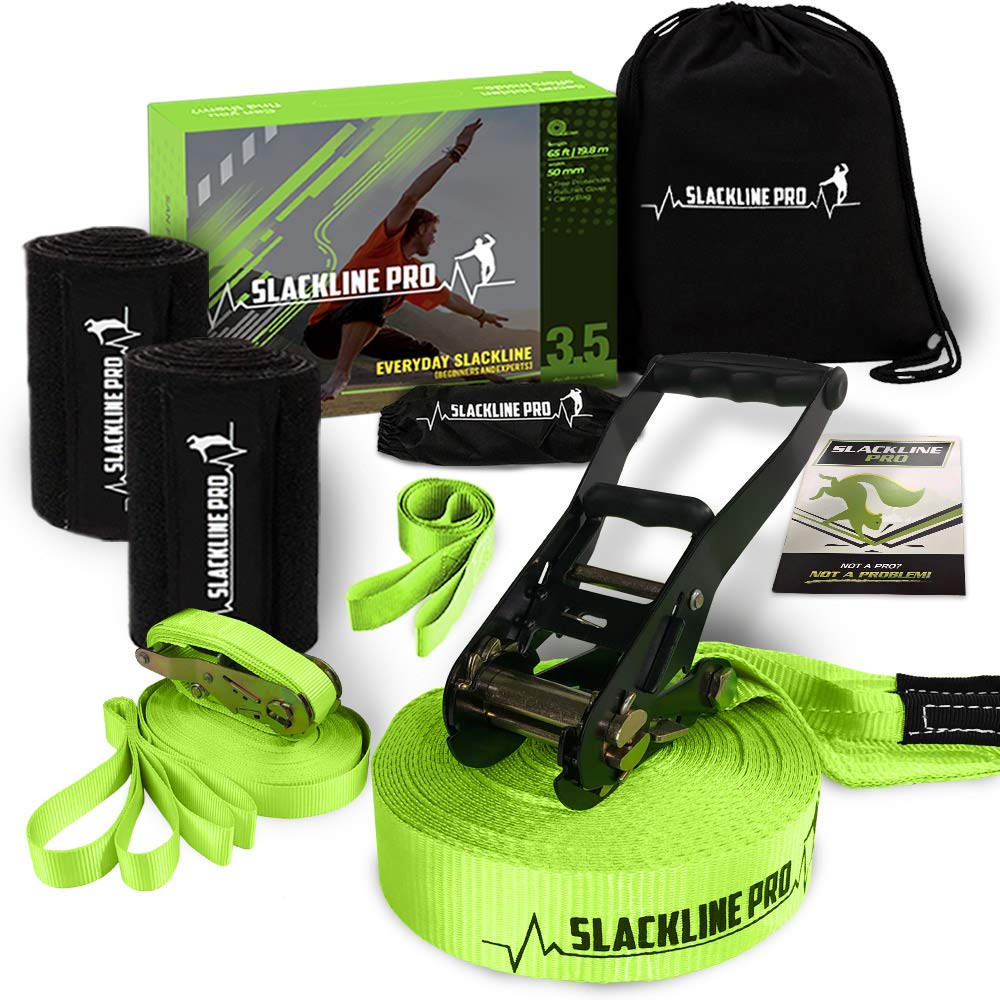 PRO Slackline Kit with Training Slack Line - 65ft. Balance Tight Rope for Trees - Outdoor American Warrior Tightrope, Slacklining Set, Backyard Ninja Obstacle Course for Kids, Family, Adults (Green) by Slackline Pro