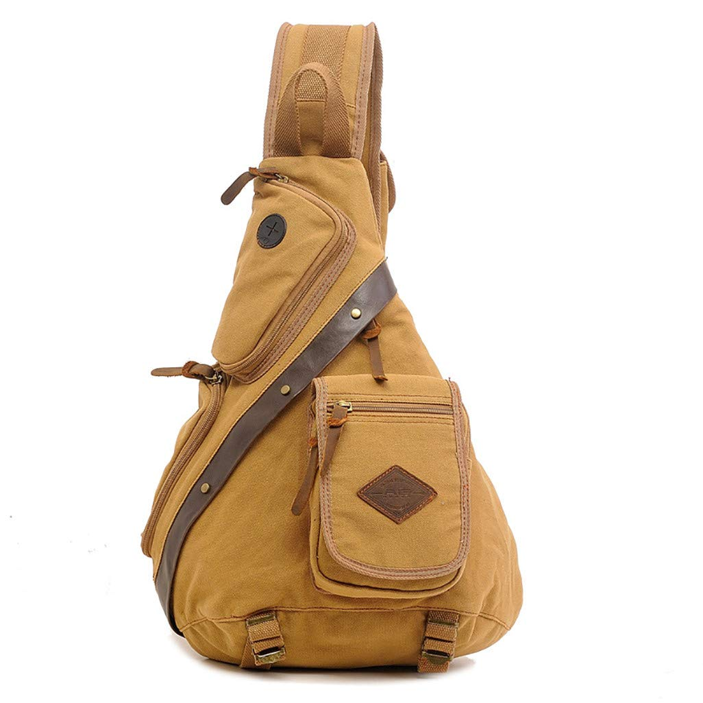 HOSOME Travel Duffels Multi-Function Canvas Chest Package Man Bag Backpack Khaki