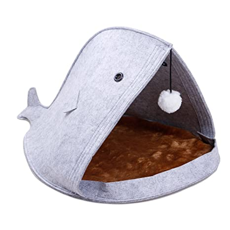 Sotoboo - Cama de Fieltro para Mascotas, Diseño de Gato con Forma de Tiburón ,