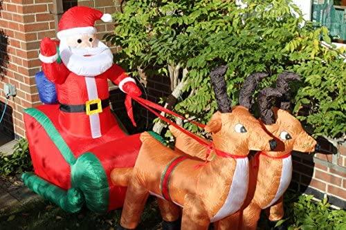 Papá Noel y reno hinchables con luces LED de 2,3 m de ancho ...