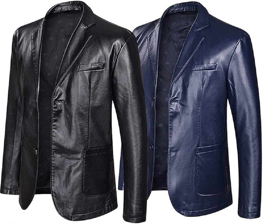 HiFacon Hombres Negocios Blazer Abrigo Chaqueta De Cuero Dos Botones Negro/Azul Slim Fit Casual