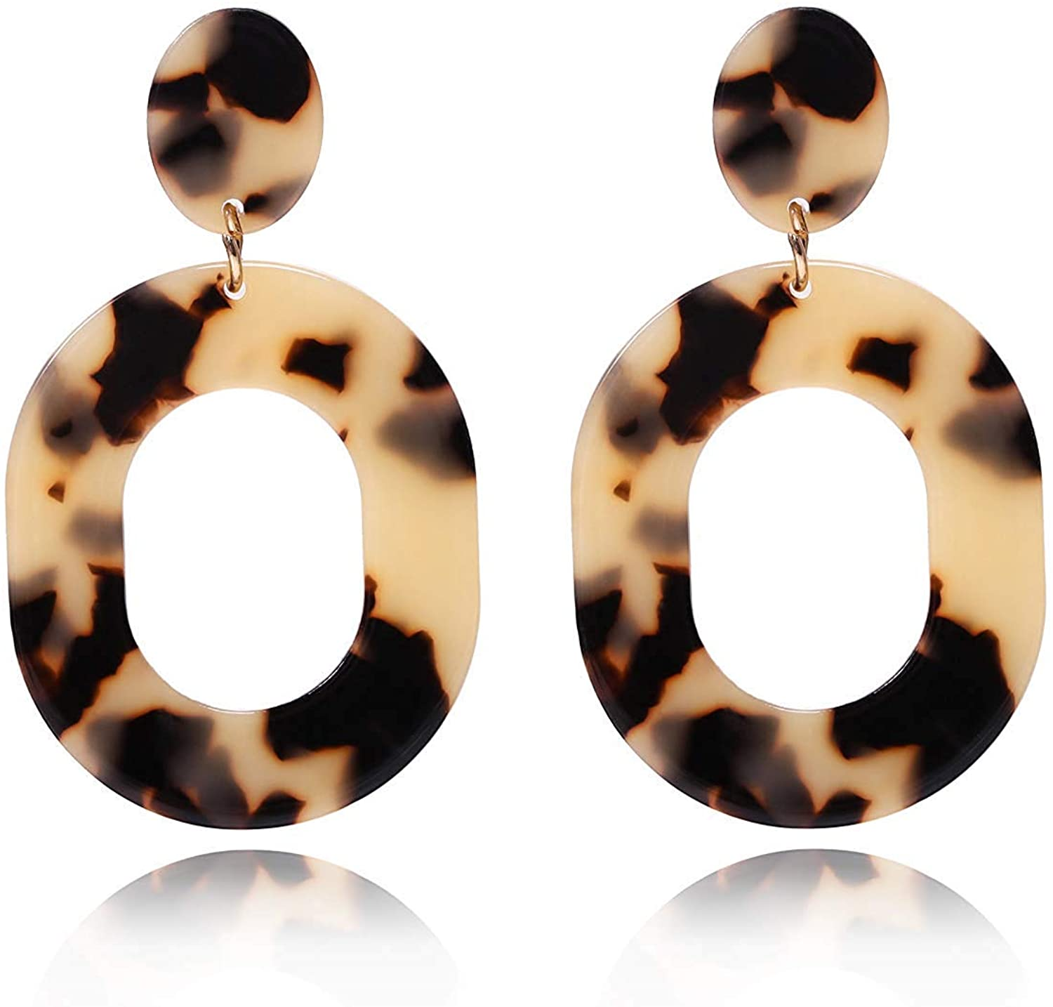Mottled Circle Hoop Acrylic Resin Dangle Statement Drop Earrings for Women