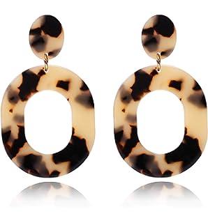 Statement Geometric Circle Gold Plated Ear Studs Earrings Women Drop Earring PWH
