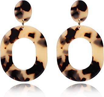 Clip On Brass and Acry;ic Geometric  Earrings Free Shipping