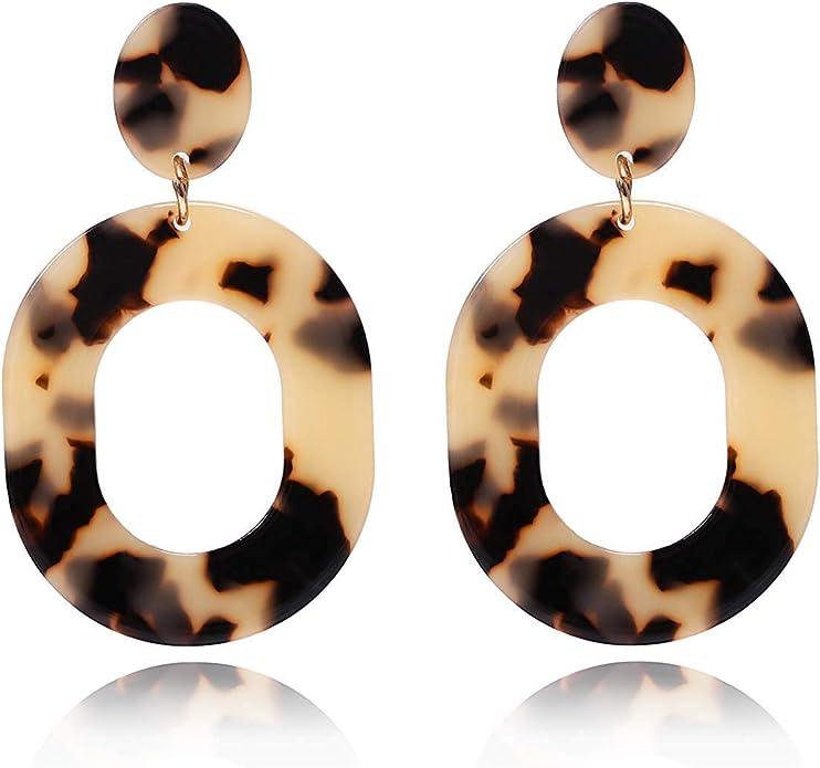 Geometric Earrings Statement earrings gift for her Clip On Earrings Hexagon Brown mirror acrylic silver Clip on Acrylic earrings