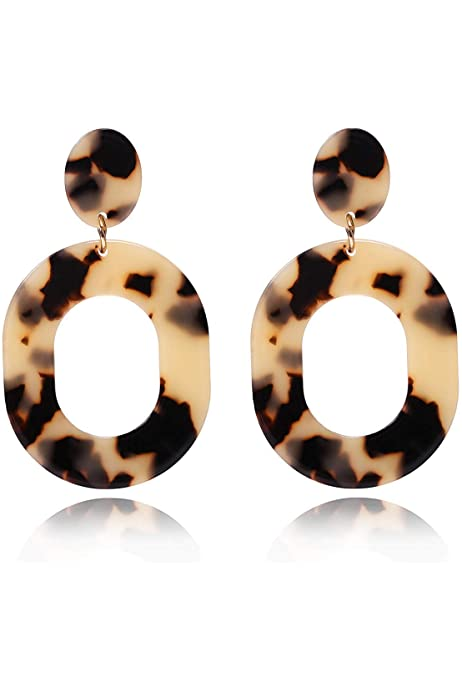 Fashion Geometric Boho Acrylic Resin Dangle Drop Hook Earrings Women Royal Blue
