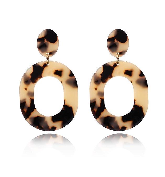 Vintage Style Jewelry, Retro Jewelry YAHPERN Acrylic Earrings for Women Girls Statement Geometric Earrings Resin Acetate Drop Dangle Earrings Mottled Hoop Earrings Fashion Jewelry  AT vintagedancer.com