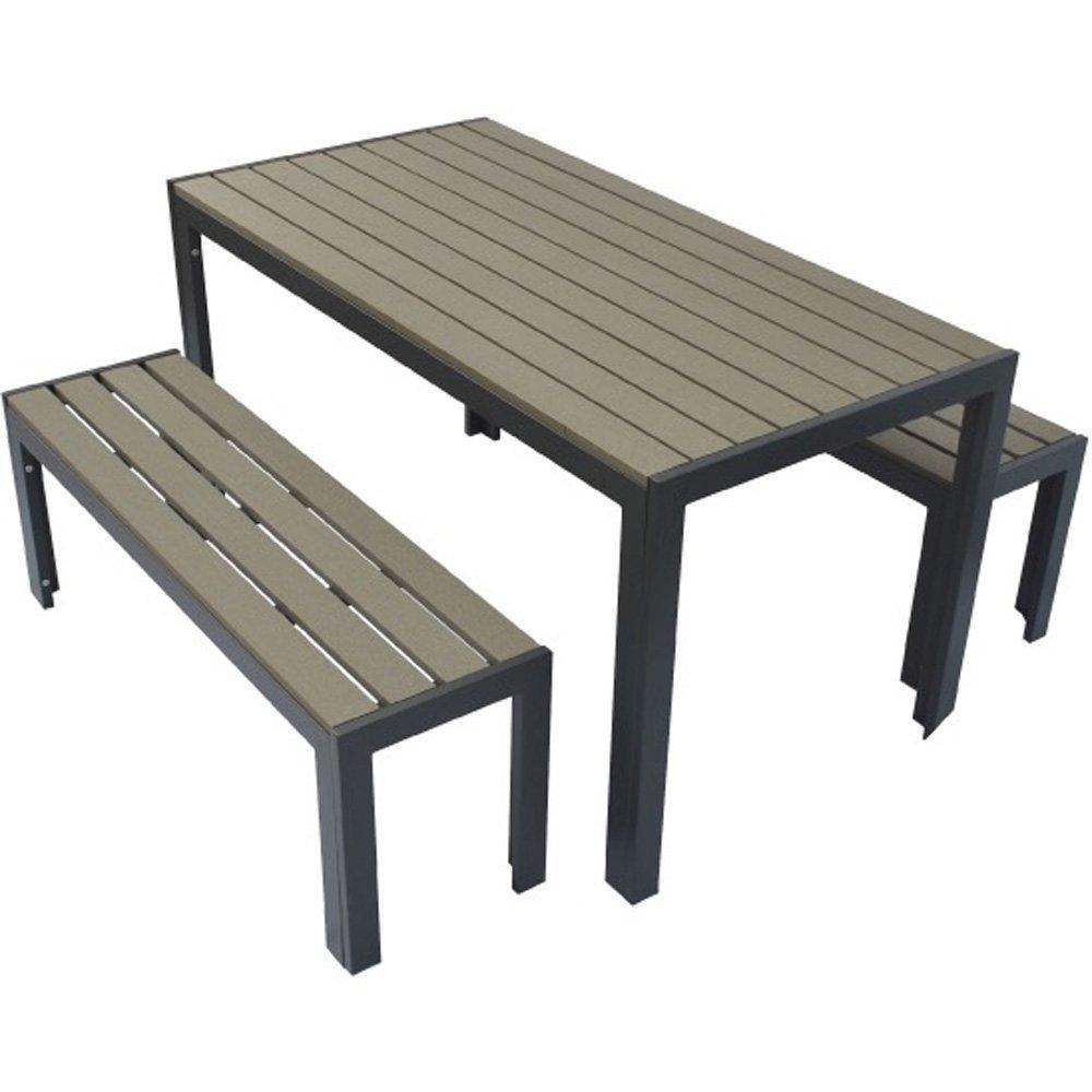 人工木テーブル長方形+ベンチ120 2台セット ダークブラウン B073P326G5