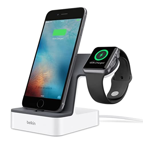 Belkin PowerHouse Dual Apple Watch Charger Stand & Lightning Docking Station for Apple iPhone with 1.2 m Charging Cable, MFi Certified - White