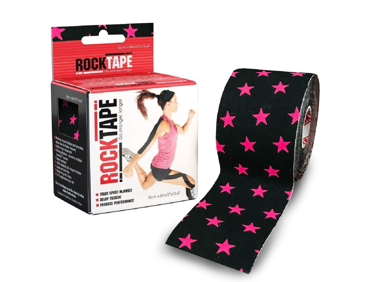 Rocktape Kinesiology Tape for Athletes, Water Resistant, Reduce Pain and Injury Recovery, 180% Elastic Stretch, 1 Roll, 16.4 Feet (Black and Pink Star)