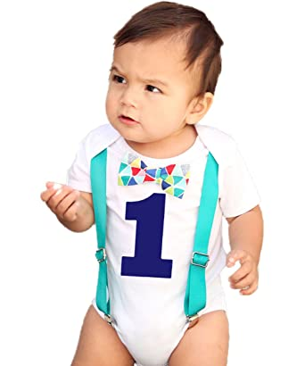 Noahs Boytique Baby Boys First Birthday Outfit Teal Suspenders Colorful Print Bow Blue Number 6