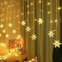Luzes de cortina de floco de neve, luzes de LED de Natal para janela, cordão de fada à prova d'água, decoração de Natal…