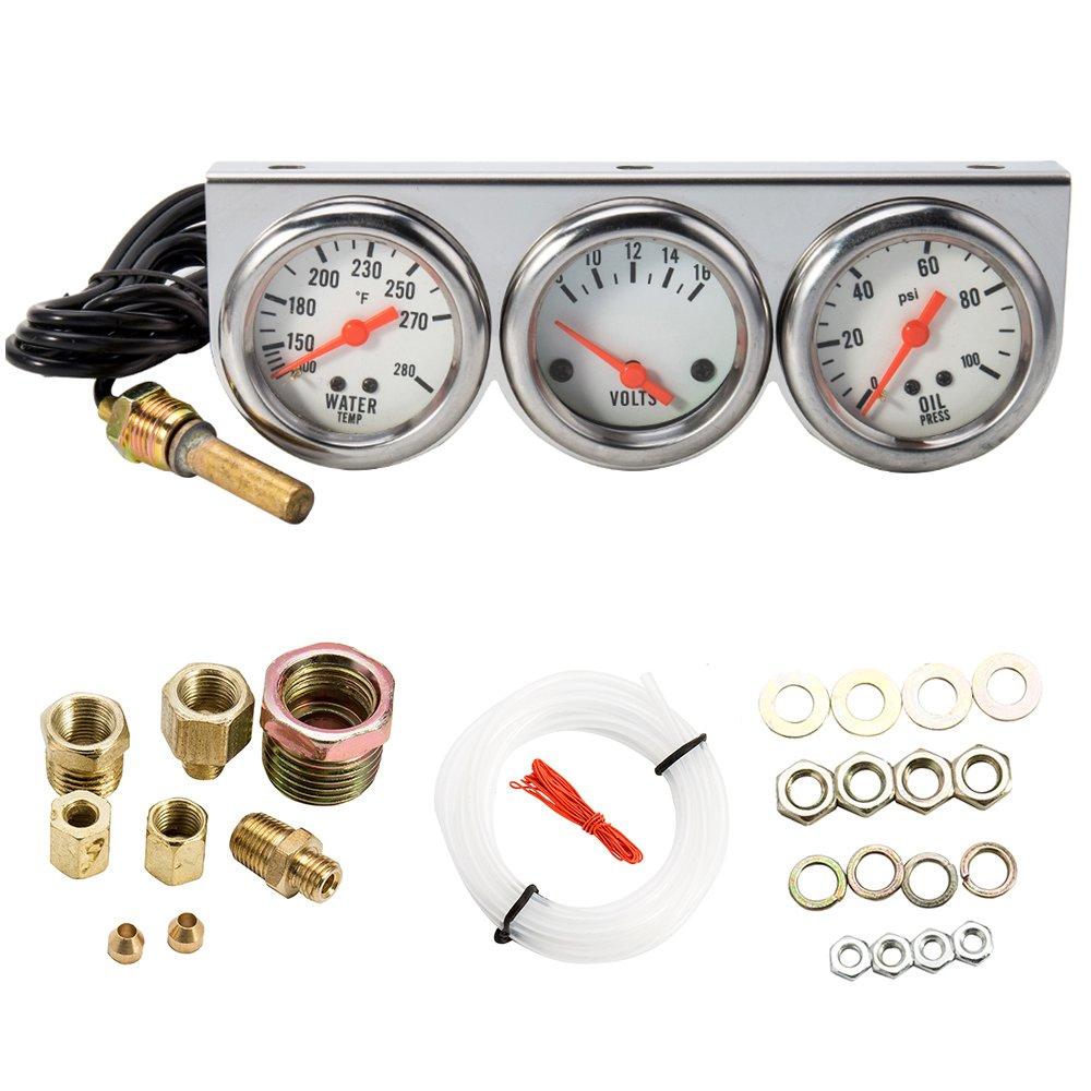 WarmCare Triple Gauge Kit Oil/Volt/Water Gauge 2'' Chrome Oil Temp Water Temp Gauge Temperature Oil Pressure Voltage Gauge Sensor 3 in 1 Car Meter Auto Gauge by WarmCare