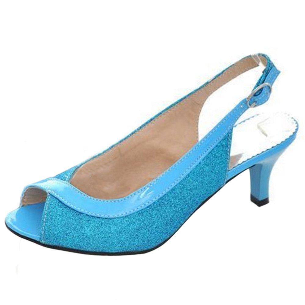 Zanpa 4578 Femme Kitten Heel Escarpins Sandales Slingback Escarpins Heel Bleu b158983 - epictionpvp.space