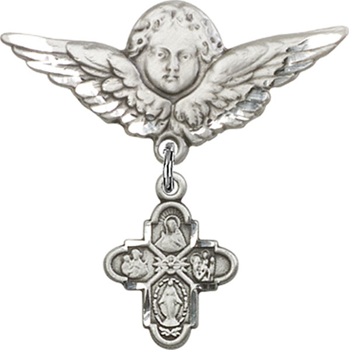 Sterling Silver Baby Badge Guardian Angel Pin with 4-Way Charm, 1 1/4 Inch