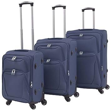 vidaXL Set Maletas con Ruedas 3 Pzas Azul Mochila Equipaje Bolso Bagaje Viaje: Amazon.es: Equipaje