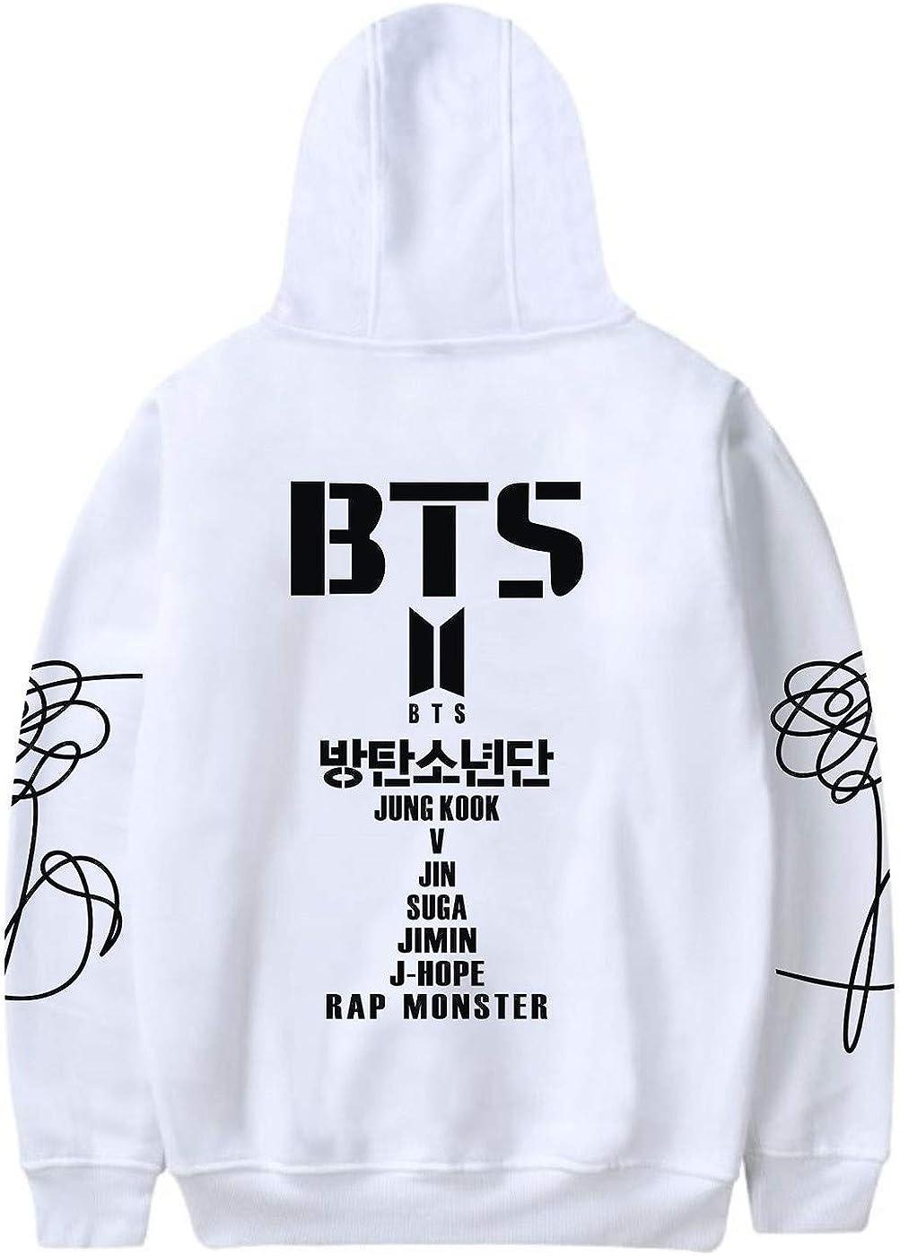 SIMYJOY Unisex BTS Fans Felpa con Cappuccio Bangtan Ragazzi Membri Logo Pullover Hip Pop Cool Felpa KPOP Street Fashion Top per A.R.M.Y Uomo Donna Teen
