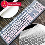 [2 Pcs]Keyboard Cover skin for Dell KM636 Wireless Keyboard&Dell KB216 Wired Keyboard,Dell Optiplex 5250/3050/3240/5460/7450/7050,Dell Inspiron AIO 3475/3670/3477all-in one desktop(Gradualpink+Clear)