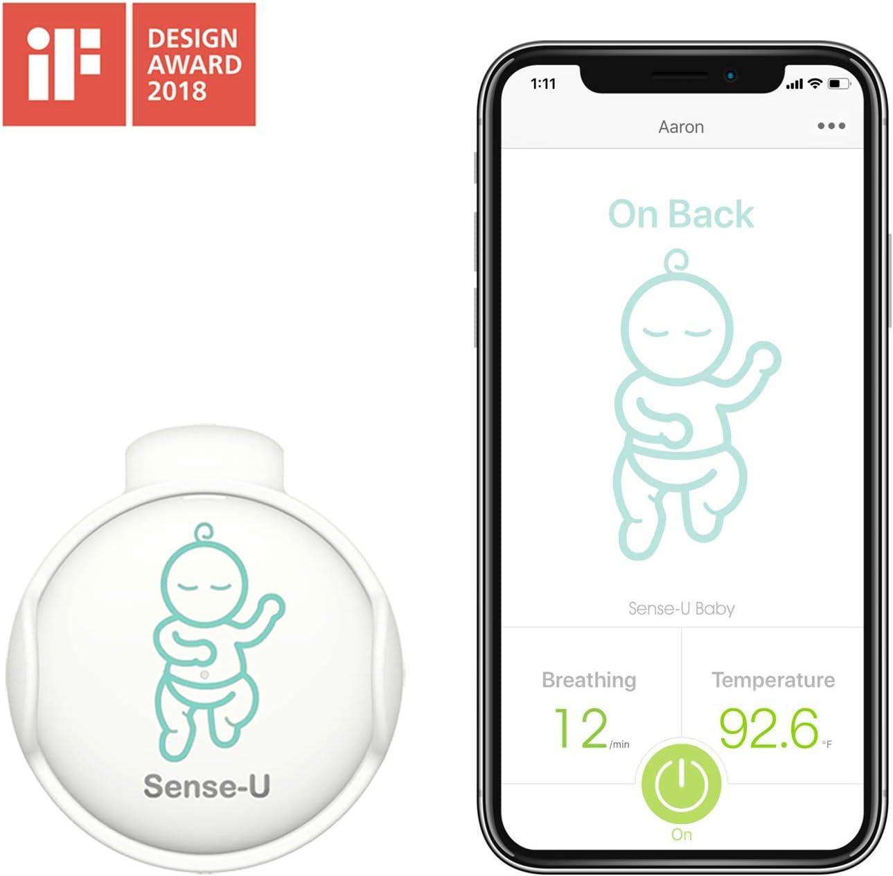 (2019 Nuevo Modelo)Sense-U bebé Monitor de respiración y movimiento del sueño estomacal del bebé : alarma de respiración, alarma de sueño estomacal, alarma de sobrecalentamiento, alarma de resfriarse
