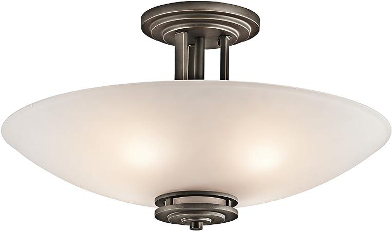 Kichler Lighting 3677oz Hendrik Four Light Semi Flush Mount Olde Bronze Finish With Umber Glass Close To Ceiling Light Fixtures Amazon Com