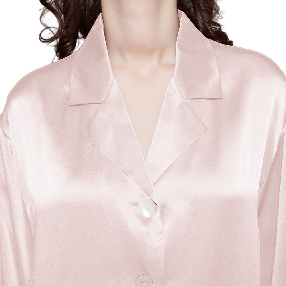 LilySilk Silk Women Pajama Sets 7pcs Hair Band and Hair Ties Short and Long Sets Sleepwear Ladies Light Pink XL/14-16 by LilySilk (Image #3)