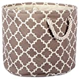 """DII Collapsible Polyester Storage Basket or Bin with Durable Cotton Handles, Home Organizer Solution for Office, Bedroom, Closet, Toys, & Laundry (Large Round – 15x16""""), Brown Lattice"""