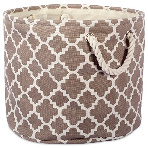 "DII Collapsible Polyester Storage Basket or Bin with Durable Cotton Handles, Home Organizer Solution for Office, Bedroom, Closet, Toys, & Laundry (Large Round – 15x16""), Brown Lattice"