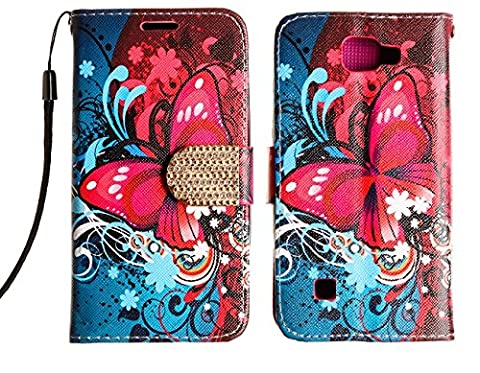 LG Optimus Zone 3 / LG Rebel 4G LTE / LG K4 VS425 case, Luckiefind PU Leather Bling Flip Wallet Credit Card Cover Case, Stylus Pen Accessories (Wallet Butterfly (Lg Optimus Cell Phone Holster)