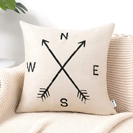 Swell Anickal Arrow Compass Decorative Throw Pillow Covers Cotton Linen Farmouse Cushion Cover 18X18 Inches For Home Couch Sofa Bench Decor Creativecarmelina Interior Chair Design Creativecarmelinacom
