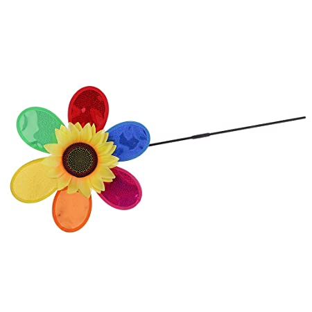 Albio Colorful Sequins Sunflower Windmill Whirligig Home Party Toy Yard Lawn Ornament Kits