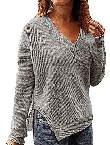 B dressy Womens V Neck Side Split Pullover Jumper Sweater Knitwear GreyMedium ()