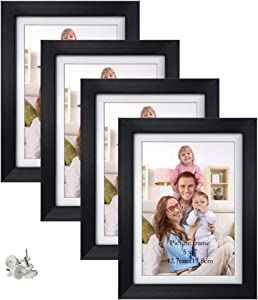 Giftgarden 5x7 Picture Frames, Display 5x7 Pictures with Mat or 6x8 without Mat for Wall Decor or Tabletop Display, Black, Set of 4