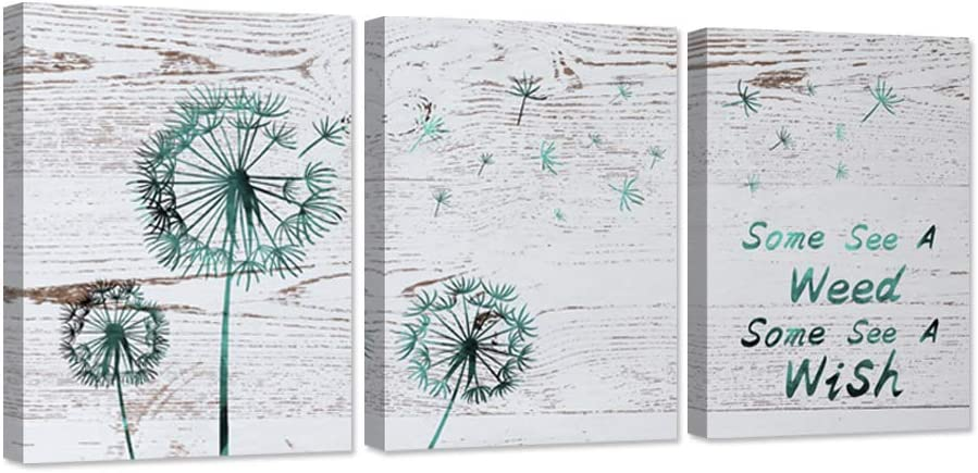 ZingArts 3 Pieces Canvas Wall Art Teal Dandelion with Some See a Weed Some See a Wish Inspirational Quote Flower Artwork on Wood Background For Home Bedroom Decor Stretched and Framed Ready to Hang