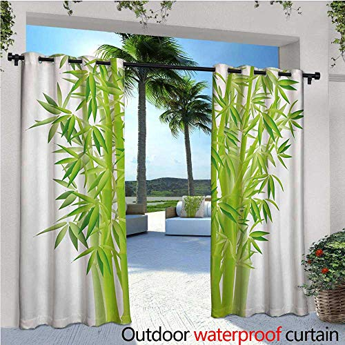 homehot Exotic Exterior/Outside Curtains Bamboo Stems with Leaves Spiritual Fresh Bunch Tropical Plant Eco Foliage Print for Patio Light Block Heat Out Water Proof Drape W84 x L84 Lime Green