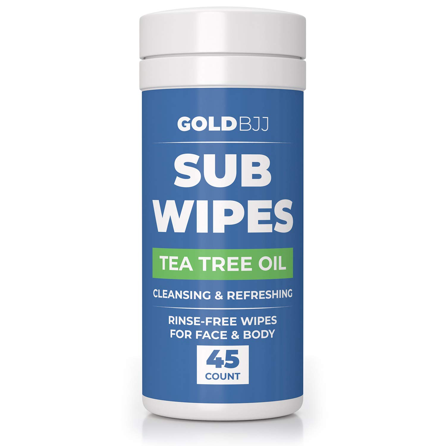 Gold BJJ Jiu Jitsu Wipes [XL 45 Count] Tea Tree Oil Face and Body Wipe - Cleansing Skin Defense for Martial Arts & Wrestling by Gold BJJ