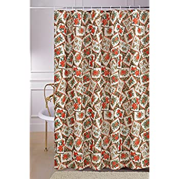 Violet Linen Decorative Christmas Printed Poinsettia Design Shower Curtain 72 X Bloom