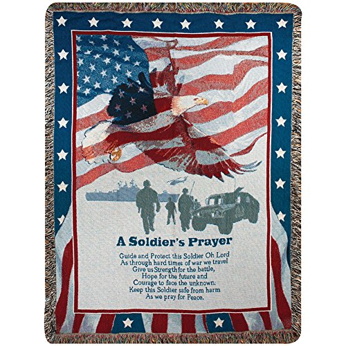 A Soldier's Prayer Military Heroes American Flag 100% Cotton Throw Blanket