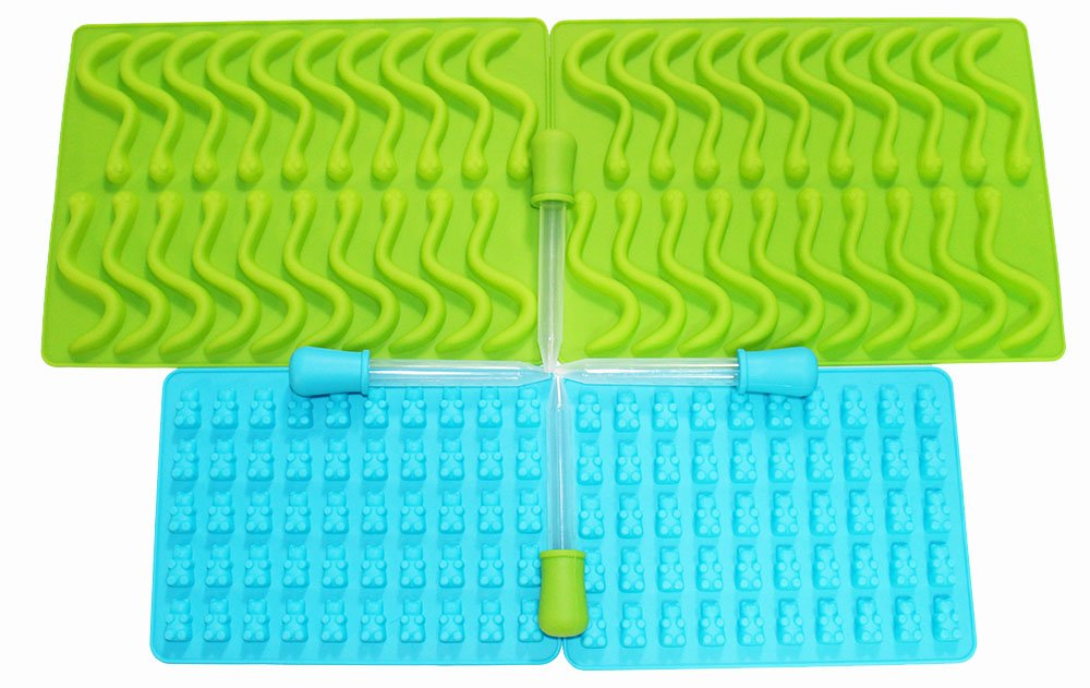 Gastroworx 8 Piece Gummy Making Set Includes 2 Gummy Bear Molds 2 Gummy Worm Molds and 4 Droppers