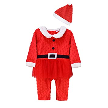 a6b87b009845 Vine Baby Christmas Outfits Baby Romper + Hat Jumpsuit Santa Suits ...