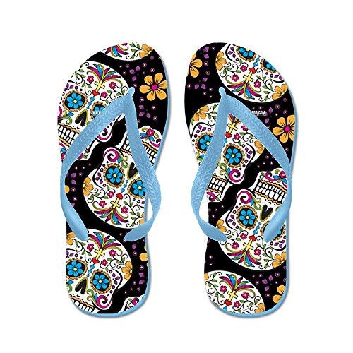 CafePress Sugarskull Halloween - Flip Flops, Funny Thong Sandals, Beach Sandals Caribbean Blue