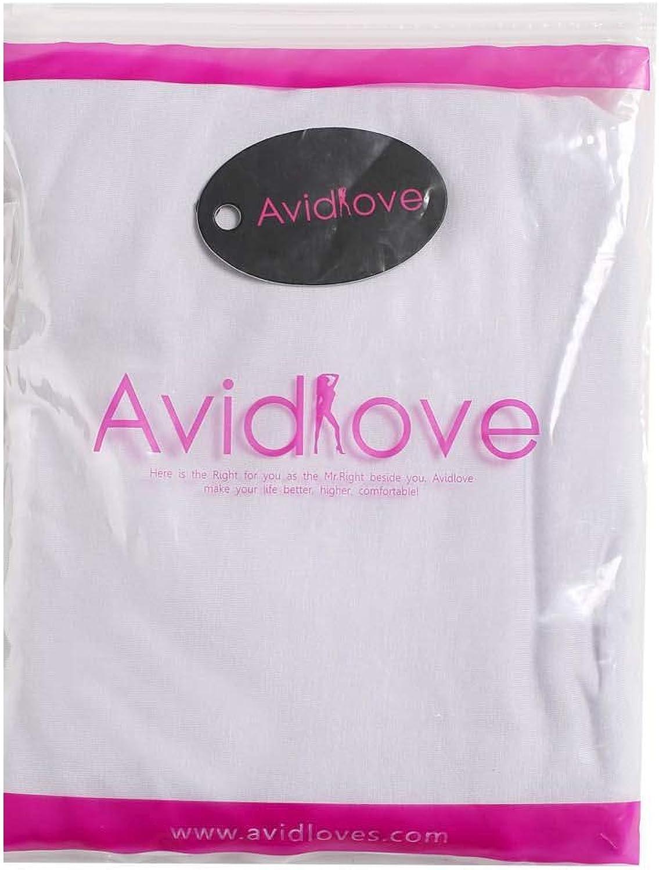 Avidlove Women Full Slips Cotton Blend V Neck Straight Dress Nightwear White