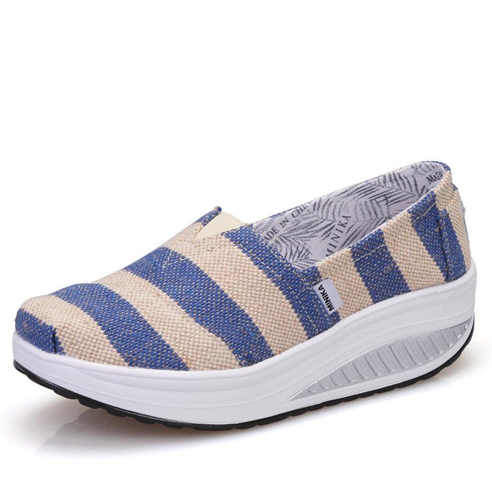 FangYOU1314 Toile : Shake Shoes Wedge Chaussures de Voyage 39 décontractées Wedge (Couleur : Bande, Taille : 39 1/3 EU) Bande eceb17f - shopssong.space