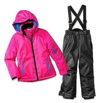 Poco Piano 2tlg. Traje de esquí funcional para niña (Talla 128 Color. Rosa Negro Chaqueta insulada - Pantalón de nieve.: Amazon.es: Deportes y aire libre