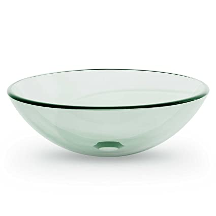 Charming Miligoré Modern Glass Vessel Sink   Above Counter Bathroom Vanity Basin Bowl    Round Clear