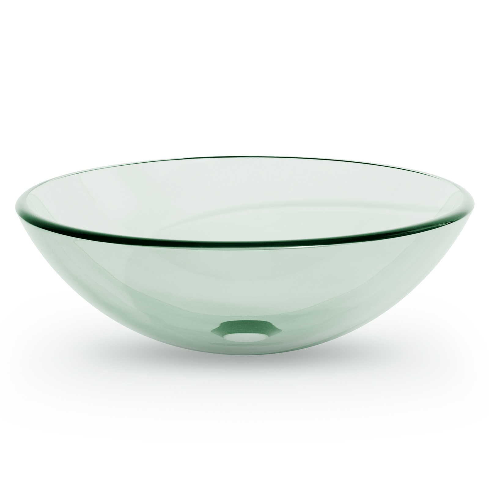 Miligoré Modern Glass Vessel Sink - Above Counter Bathroom Vanity Basin Bowl - Round Clear