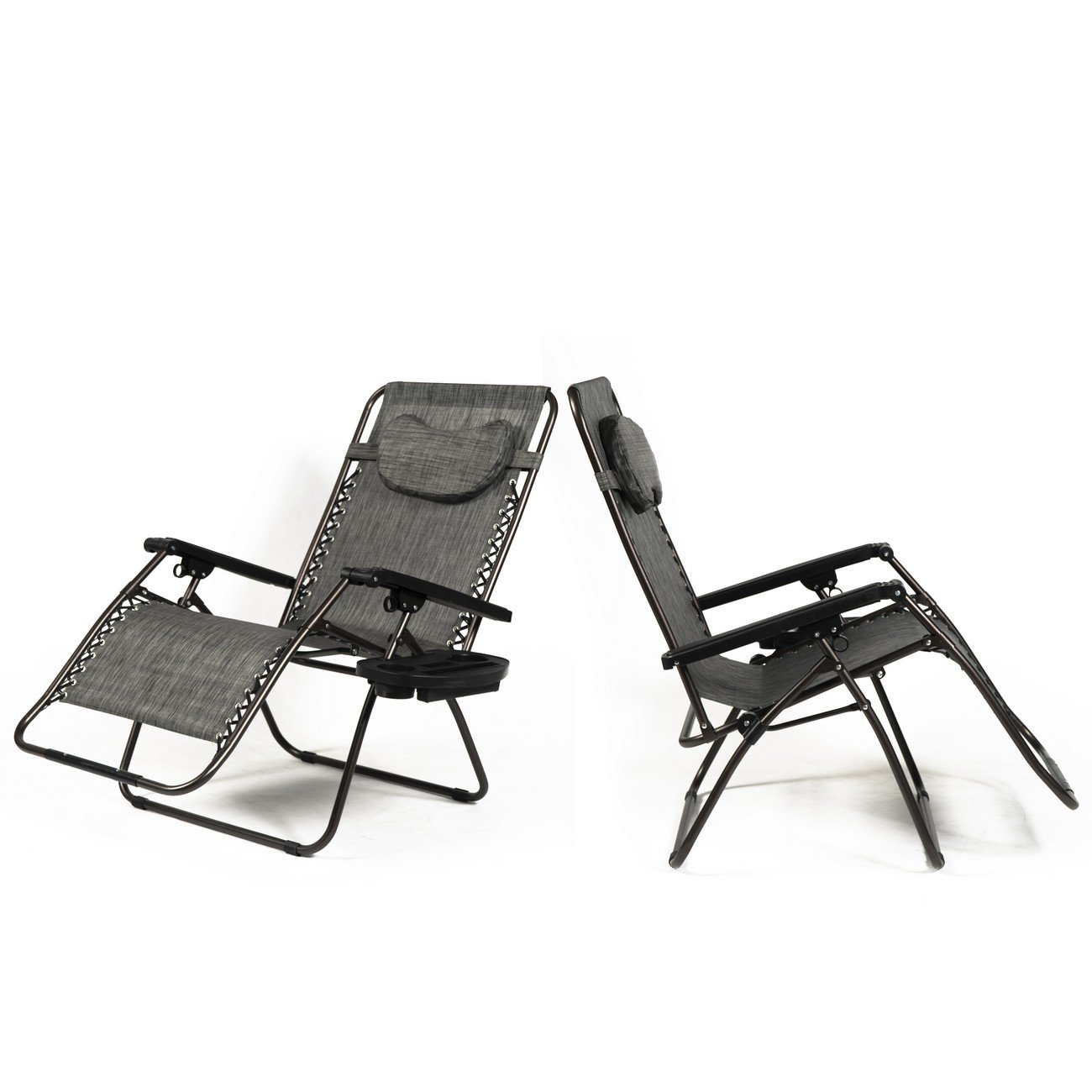 Amazon.com : Belleze XL Oversized Zero Gravity Chairs Sets Of (2) Foldable  Recliner Lounge Padded With Pillow Tray Holder, Gray : Garden U0026 Outdoor